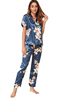 Shein Women's Floral Print Pocket Front Short Sleeve Satin Pajama Set Sleepwear