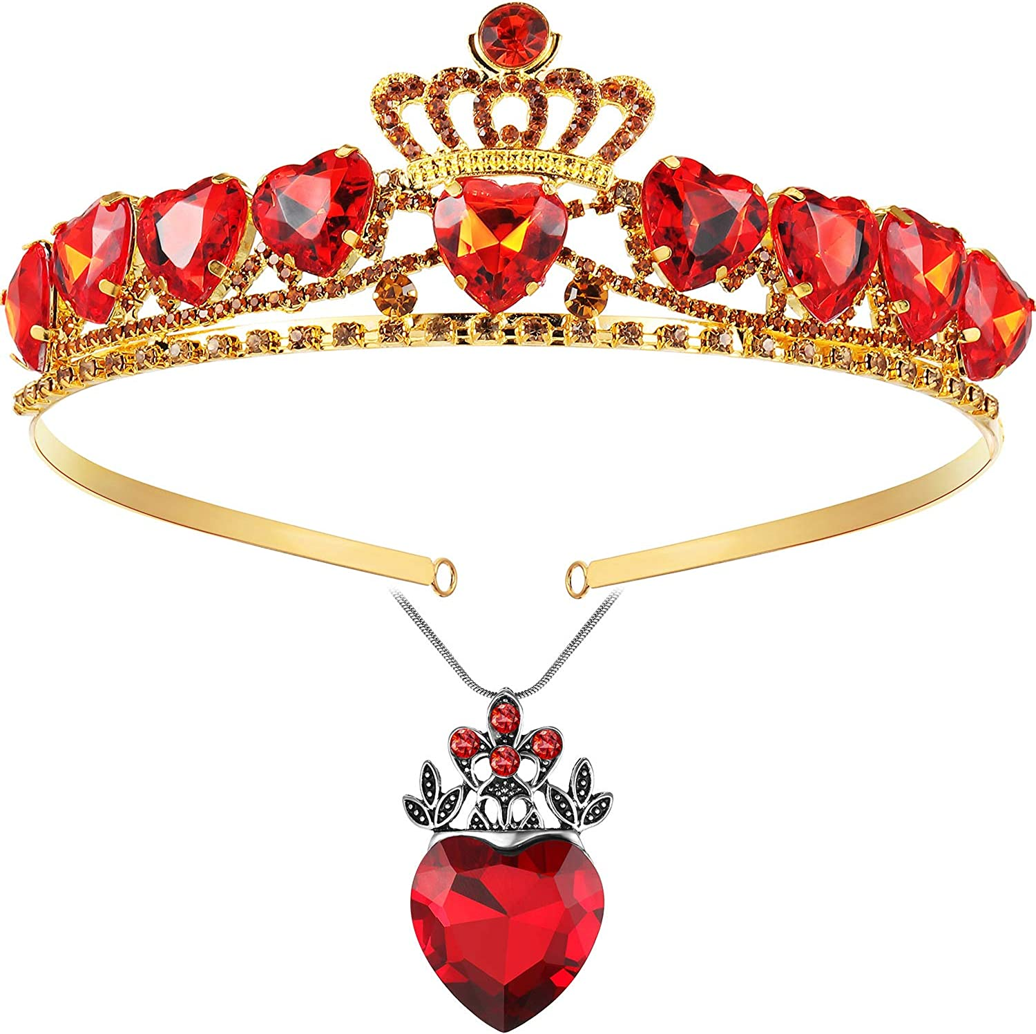 Detroit Omaha Mall Mall Red Heart Necklace and Crown Set Present Day Gir for Valentine's