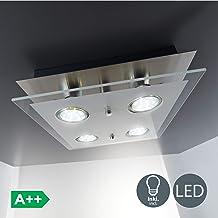Plafón LED de techo I 4 x 3 W bombillas I 4 focos GU10 I Lámpara moderna para salón