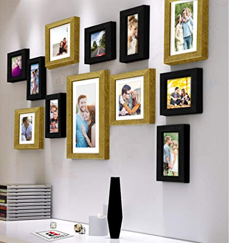 Art Street Decorative Nebula Individual Set of 12 Black & Gold Wall Photo Frames Wall Picture Frame with Free Hanging...
