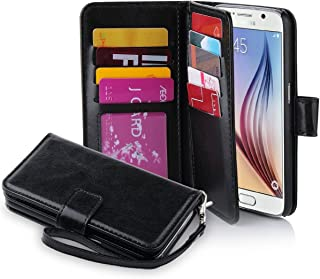 Galaxy S6 Case, Jwest Galaxy S6 Wallet Case, Premium PU Leather Case Magnetic Wallet Credit Card ID Holder Flip Cover Case with 9 Card Slots and Wrist Strap Case for Samsung Galaxy S6 Black
