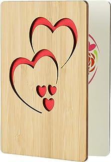 EKKONG Tarjeta Felicitacion, tarjetas agradecimiento boda de bambú con un sobre para el día del padre, cumpleaños, bodas, San Valentín y aniversarios