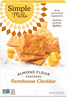Simple Mills Almond Flour Crackers, Farmhouse Cheddar, Gluten Free, Flax Seed, Sunflower Seeds, Corn Free, Good for Snacks, Made with whole foods, (Packaging May Vary)