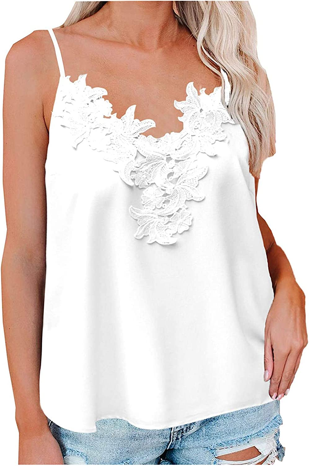 ROMITTA Women Fashion Solid Color Sexy Lace V-Neck Camisole Vest Tank Top