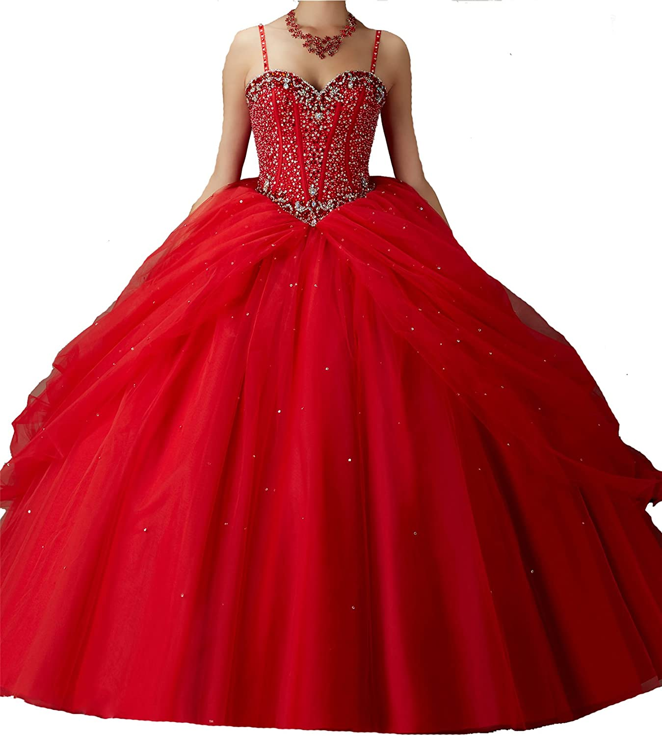 TuanYuan Women Ball Gowns Spaghetti Sweet Girls 15 16 Quinceanera Dresses