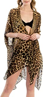 Women's Leopard Print Swimsuits Bikini Cover Up Summer Beach Swimwear, Bikini Beachwear Tassel Kimono Cardigan.