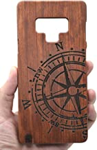 PhantomSky Wooden Protective Case Compatible for Samsung Galaxy Note 9, Premium Heavy Duty Protection Shockproof Quality Handmade Natural Wood Cover - Rosewood Compass