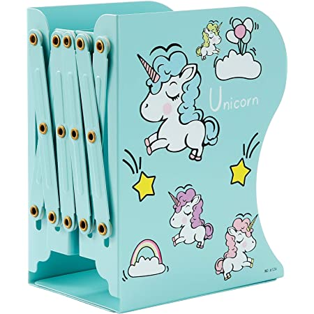 Expandable Cartoon Student Book Ends for Heavy Book Book Holder Hold Magazines Blue Dog SubClap Adjustable Bookends Metal Book Racks for Kids Desktop Organizer Bookshelf for Room /& Office
