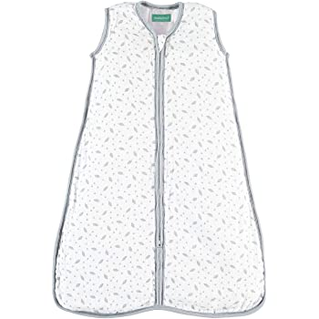 "molis&co Premium Muslin Sleeping Bag for Newborn, Super Soft and Light Sleep Sack, Unisex Grey Leaf Print.6-12 Months Infant, 31.5"" 0.5 TOG"