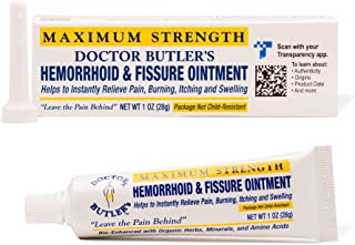 Doctor Butler's Hemorrhoid & Fissure Ointment - Hemorrhoid Treatment with Lidocaine, Aloe Vera, Amino Acids, Essential Oil...