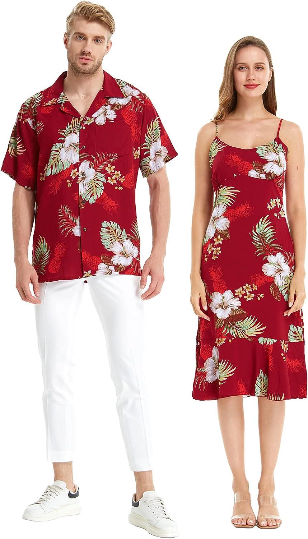 Matchable Couple Hawaiian Luau Shirt or Mermaid Ruffle Dress in Pineapple Garden Burgundy