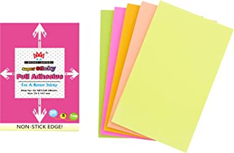 4A Sticky Full Adhesive Notes,5 1/3 x 3 Inches,20 Sheets/Color,5 Colors/Pack,Self-Stick Notes,100 Sheets Total,4A 305 Full Glue