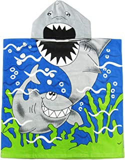 Kreative Kids Shark 100% Cotton Poncho Style Hooded Bath & Beach Towel with Colorful Double Sized Design