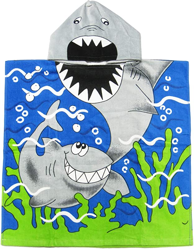 Kreative Kids Shark 100 Cotton Poncho Style Hooded Bath Beach Towel With Colorful Double Sized Design