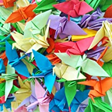Hangnuo 100 PCS Origami Paper Cranes Mixed Colors, Folded DIY Japanese Crane Mobile String Garland for Wedding Party Backdrop Home Decoration