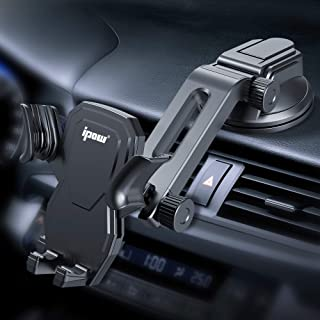 IPOW Car Phone Mount Holder Hands Free Car Phone Holder Dashboard Gravity Cell Phone Holder Mount with Auto Retractable Cl...