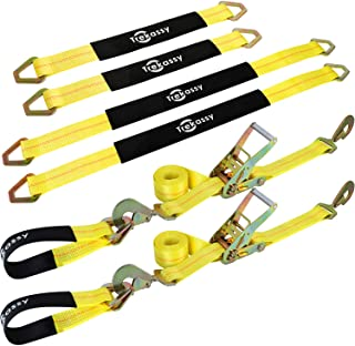 Trekassy 2�x 96� Car Axle Tie Down System with 2 Ratchet Straps and 2+2 Axle Straps
