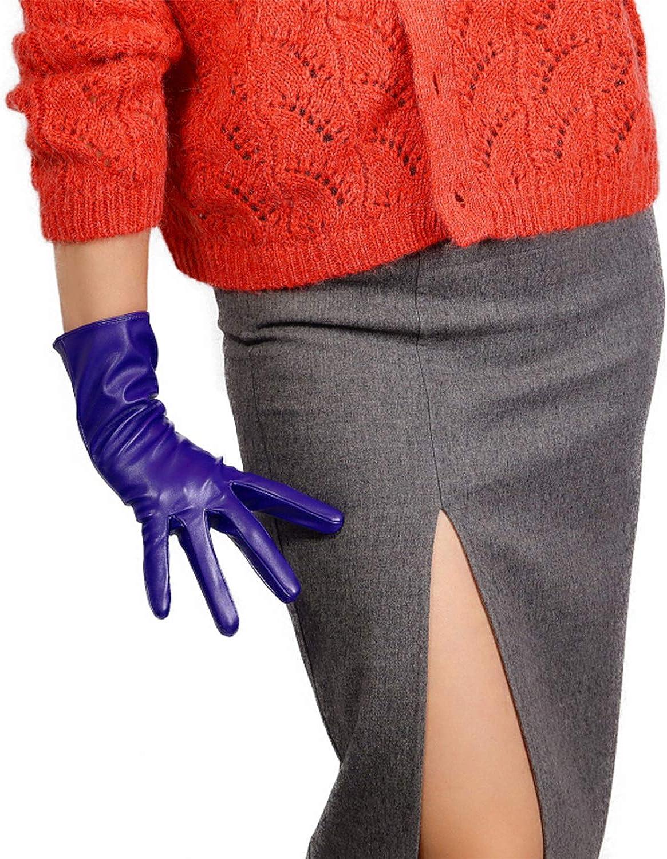 DooWay Women Faux Leather Evening Dress Gloves Unlined Supple Faux Lambskin PU Purple
