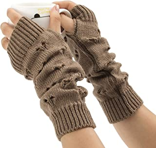 LIUFULING Women's New Cozy Wool Gloves Knit Arm Warmer Cable Knit Fingerless Gloves Mittens (Color : Brown)
