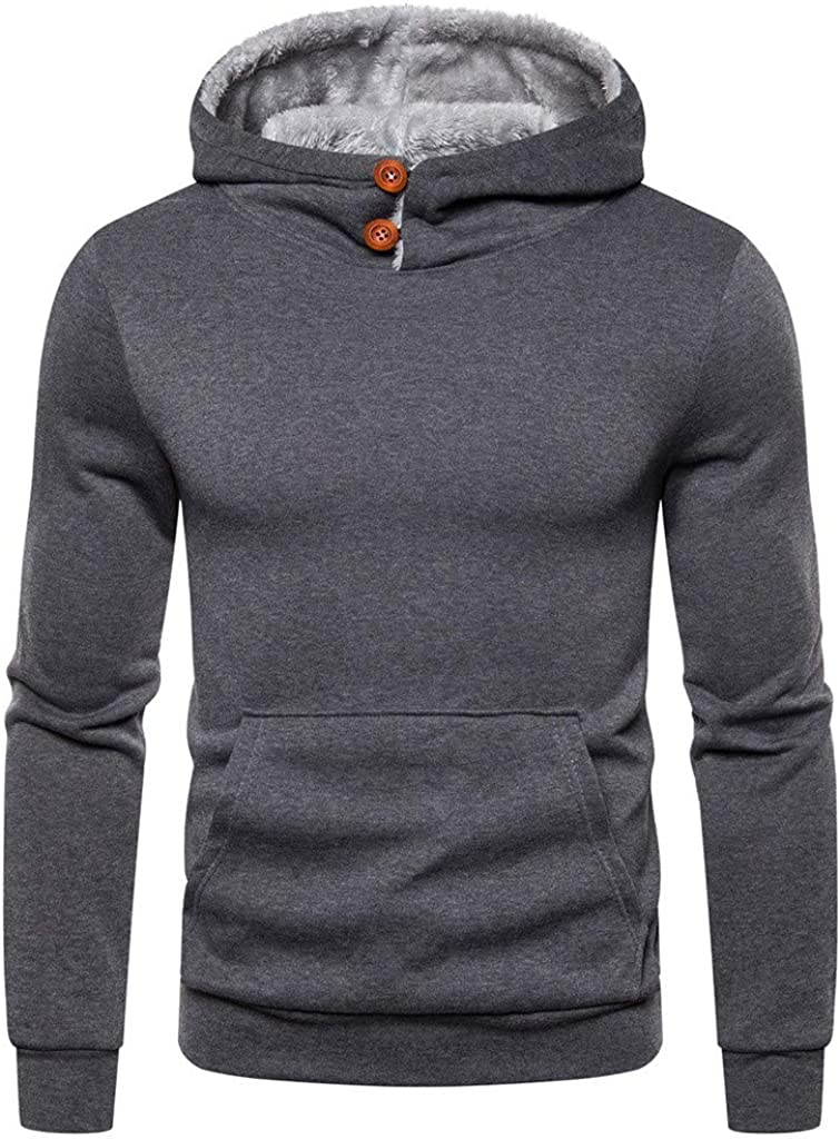 XXBR Hoodies for Mens, 2021 Fall Fashion Button Cowl Neck Fleece Pullover Long Sleeve Workout Sports Hooded Sweatshirts