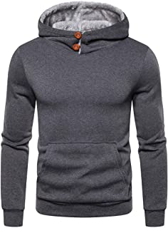 Coupondeal Men's Sweatshirt Plush Lined High Neck Warm Hoodies Thicken Winter Pullover with Kanga Pocket