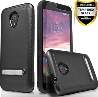 Alcatel IdealXtra 5059R Case, Alcatel 1X Evolve Case, Alcatel TCL LX A502DL, with [Tempered Glass Screen Protector], CircleMalls Build-in Kickstand Drop Protected Phone Cover W/Stylus-Black