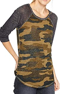 Lucky Brand womens 3/4 SLEEVE CAMO TEE T-Shirt