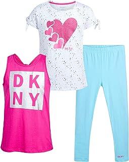 DKNY Girls' Leggings Set – 3 Piece Short Sleeve T-Shirt, Tank Top, and Leggings Kids Clothing Set (Big Girl), Size 12, Bri...