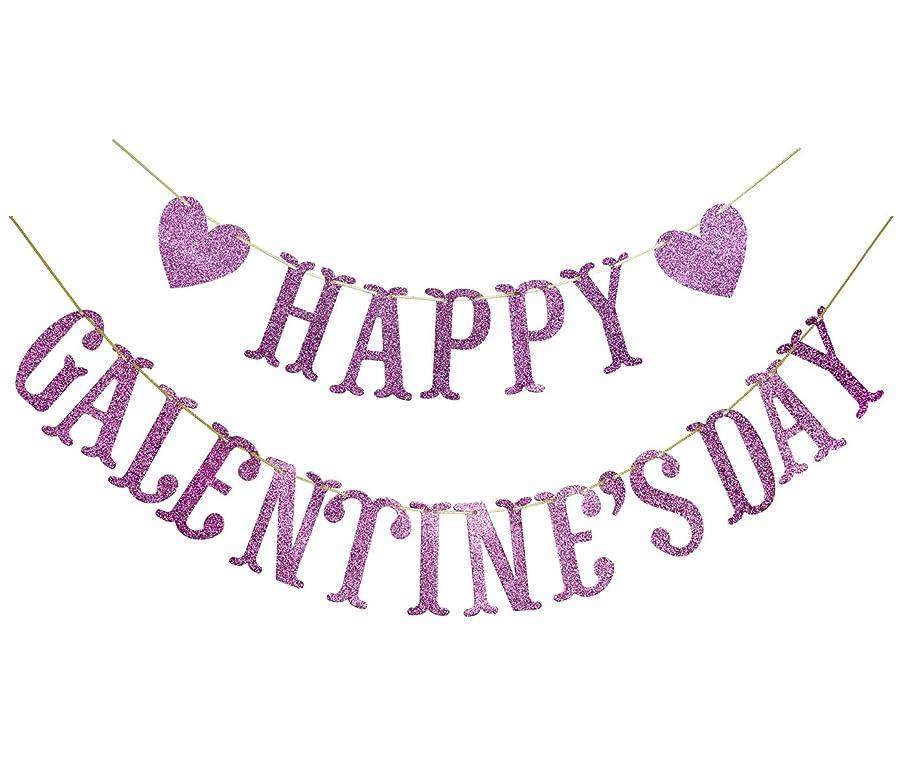 Happy Galentine's Day Glitter Banner, Valentine's Day Banner, Galentine, Valentine Party Decorations (Pink)
