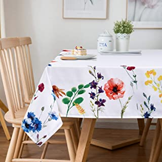Sunm Boutique Watercolor Wild Flowers Tablecloth, Spring Floral Table Cloth, 60 x 84 inch, Machine Washable Waterproof Table Cover for Easter, Dining, Holiday, Parties