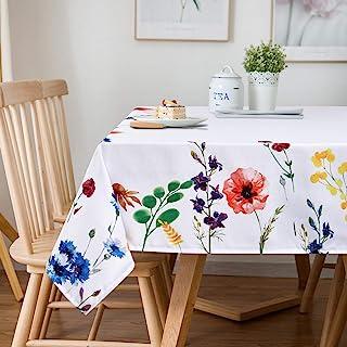 سفره سفره گلهای وحشی آبرنگ بوتیک Sunm Boutique ، پارچه میز گلدار بهاری ، 60 84 84 اینچ ، روکش میز ضد آب قابل شستشو در ماشین برای عید پاک ، ناهار خوری ، تعطیلات ، مهمانی ها