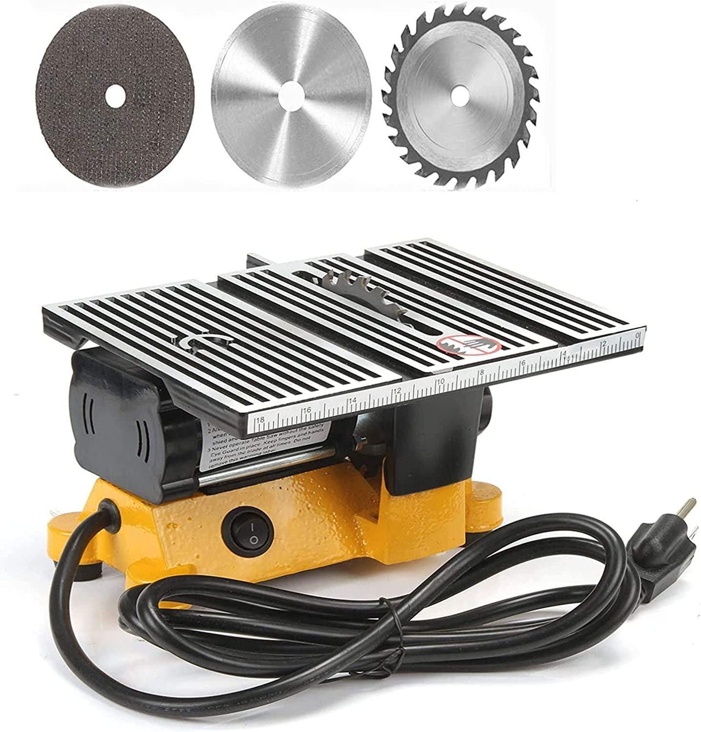 """4"""" Mini Portable Table Saw, Mini Hobby Table Saw, Small Cutting Machine, Portable Worksite Table Saw for DIY Handmade Wooden Model Crafts, Metal, Ceramic Tile, and Glass Cutting not cut steel and iron"""
