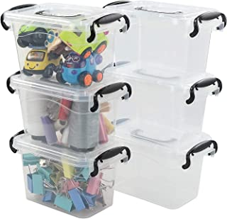 Idomy 6-Pack Mini Plastic Storage Latch Box, 1.5 L Clear Containers with Lids