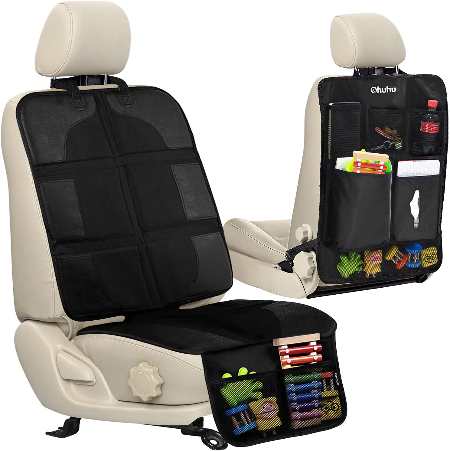 Car Seat Protector and Kick Mat, Ohuhu Thickest Auto Seat Cover for Carseats and Kids Kick Mats with Backseat Organizer