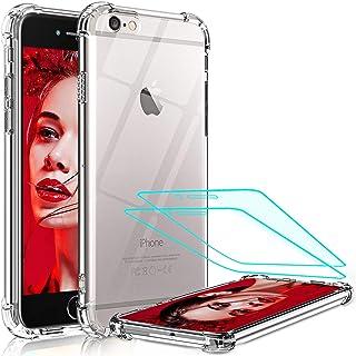 LeYi Funda iPhone 8/7, iPhone 6s / 6, iPhone SE 2020 con [2-Unidades] Cristal Templado,Transparente Silicone PC Slim TPU B...