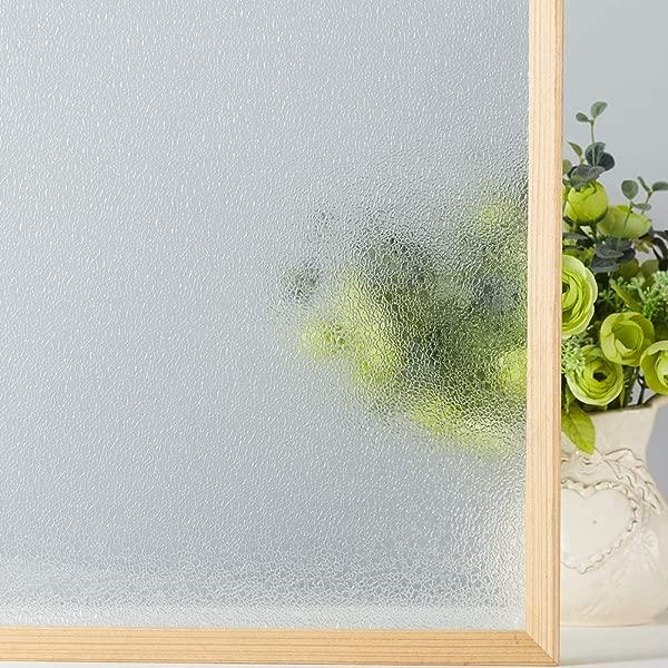 VELIMAX Rain Glass Window Film Decorative Glass Film Static Cling Privacy Rain Glass Sticker Crystal Film Heat Control 23 6 X 78 7