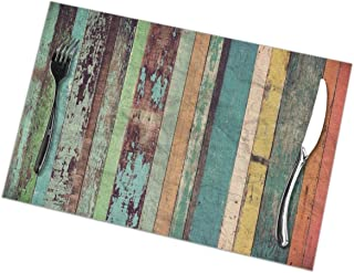 Placemats for dining table set of 6,Placemats for dining table set of 6Wood Material Background For Vintage Wallpaper tablecloth 45X30 CM