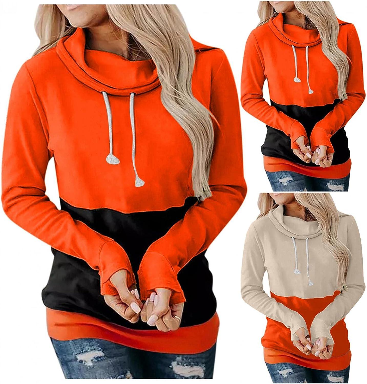 Fudule Halloween Shirts for Women Crewneck Sweatshirts Casual Solid Hoodies with Pocket Long Sleeve Lightweight Pullover
