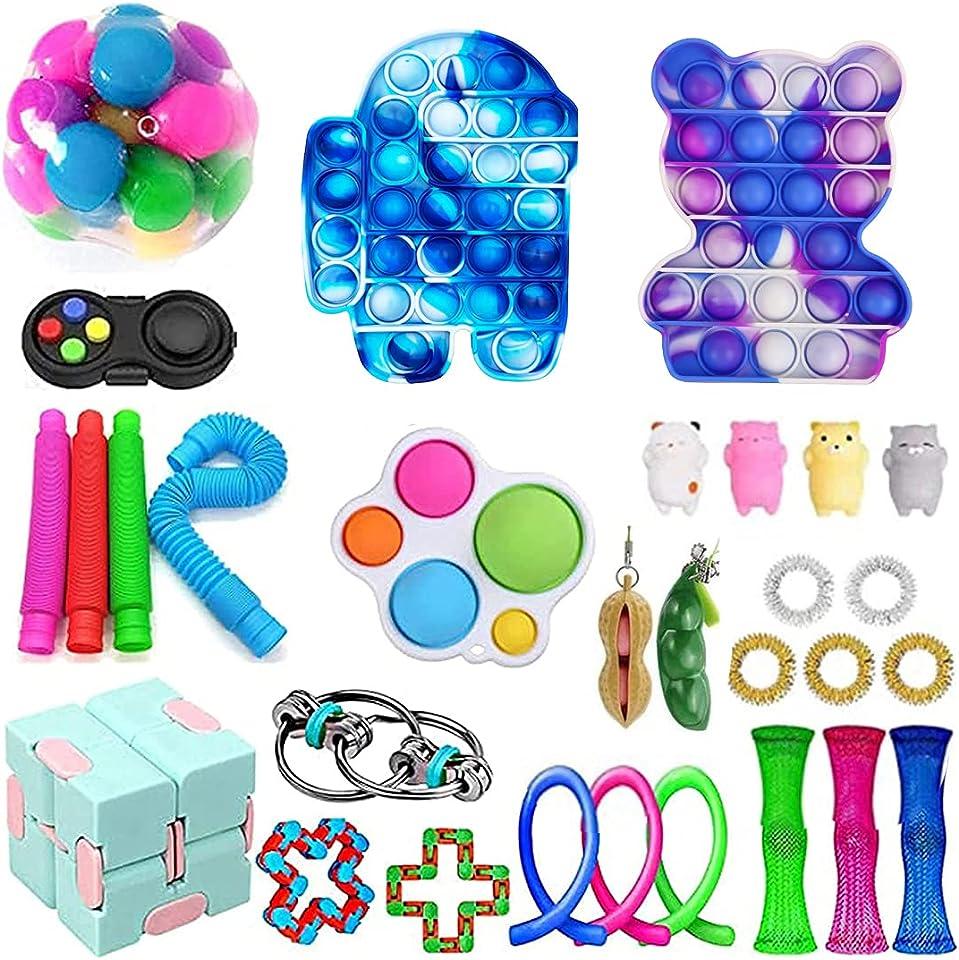 Nensiche Sensory Fidget Toy Set Tik Tok Push Bubble Pop Zappeln Toy Pack Stressabbau Zappeln Toy Bag Autismus Special Need Stressabbau Spielzeug für Kinder Erwachsene
