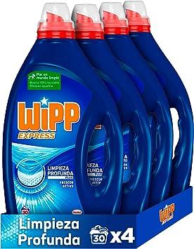 Wipp Express Limpieza Profunda Plus Frescor Activo, Detergente Líquido para Lavadora, 30 Lavados - Pack de 4, Total: 120 Lavados
