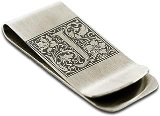 Stainless Steel Letter J Initial Floral Box Monogram Engraved Money Clip Credit Card Holder