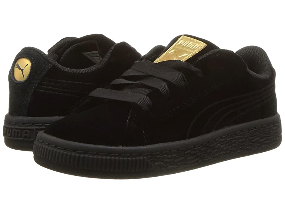 Puma Kids Basket Classic Velour (Toddler) (Puma Black/Metallic Gold) Girls Shoes