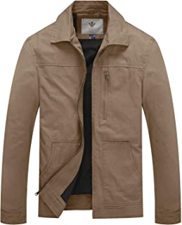 WenVen Men's Cotton Military Casual Lightweight Windbreaker Lapel Jacket