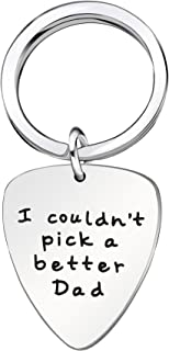 Key Chain Guitar Pick Men Father Day Gift for Dad for Papa from Daughter Son I couldn't pick a better Dad