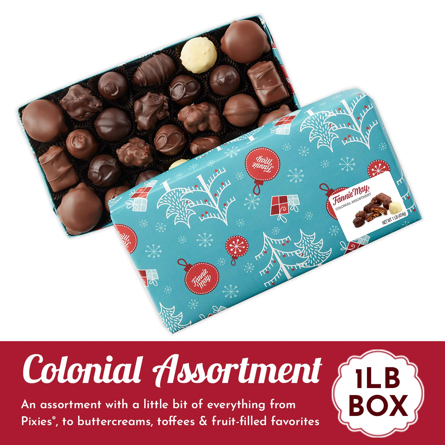 Fannie May Holiday Wrap Colonial Chocolate Assortment, Christmas Candy Gift  Box, 1 Lb- Buy Online in China at Desertcart. ProductId : 164433859.