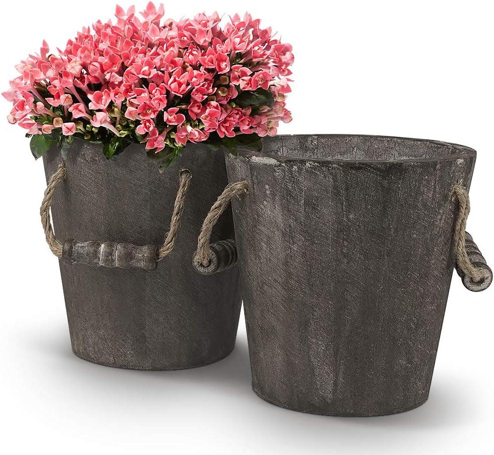 Biewoos Wooden Bucket Barrel Planters Rustic Flower Planters Succulents Faux Flowers Pots Boxes Container, Indoor Outdoor Garden Décor 2 Sets