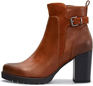 mysoft Womens Ankle Boots Chunky High Heel Boots with Zipper