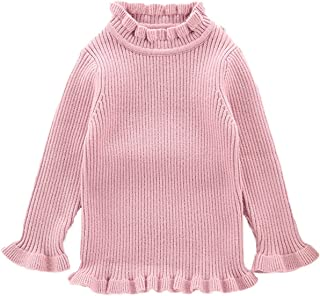 3914f58a4b SUNNY Store Little Kids Girls Long Sleeve Sweater Sweaters High Neck Ruflle  Fine Knit