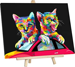 """JingZhouYang DIY Oil Painting, Paint by Numbers for Kids & Adults & Beginner Painting Gift Kits - 16"""" × 12"""" Colorful cat a..."""