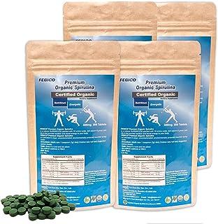 FEBICO Organic Premium Spirulina Tablets 500mg: 4 Sets- Purest Spirulina. Includes Spirulina Growth Factor and Vitamin B12 Complex